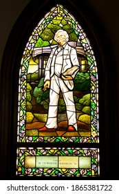 Elmira,NY USA Sept 24,2013: Mark Twain Window - stained glass window of the writer in Cowes Hall at Elmira College in western New York. The college houses the Center for Mark Twain Studies.
