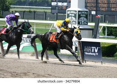 ELMONT, NY- JULY 25: Javier Castellano aboard Four Star General wins the forth race at Belmont Park- July 25, 2009 in Elmont, NY.