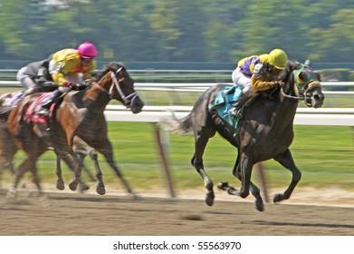 ELMONT, NY - JUN 19: Longshot Buddys Dream breaks her maiden under jockey Antonio Lopez at Belmont Park on Jun 19, 2010 in Elmont, NY.
