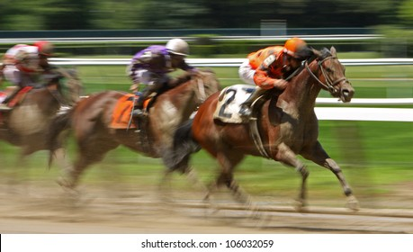 """ELMONT, NY - JUN 23: Ramon Dominguez and """"Leading Citizen"""" (#2) compete in an allowance race at Belmont Park on Jun 23, 2012 in Elmont, NY."""
