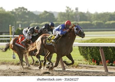 ELMONT, NY - JUN 6: Summer Bird, Kent Desormeaux up, wins the 2009 Belmont Stakes, Dunkirk, John Velasquez up, second, and Mine That Bird, Calvin Borel up, third, at Belmont Park, on June 6, 2009.