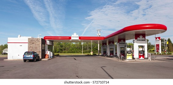 ELMSDALE, CANADA - JUNE 17, 2015: Petro-Canada was an oil and gas industry crown corporation of Canada. In 2009, Petro-Canada and Suncor energy merged.