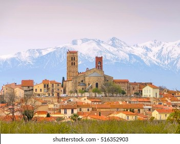 Elne cathedral and Pic du Canigou, France
