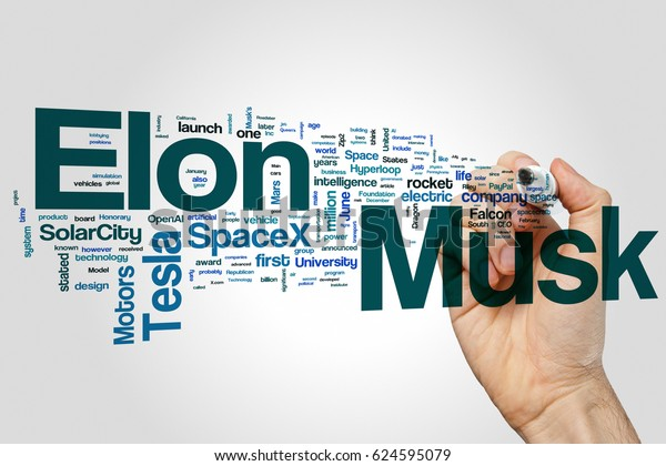 Elon Musk word cloud concept on grey background.
