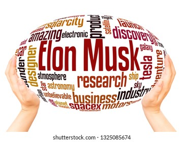 Elon Musk word cloud hand sphere concept on white background.