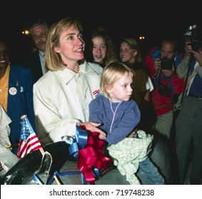 Elon North Carolina, USA, 26th October,1992 The Bill Clinton and Al Gore Campaign celebrates Hillary Clinton's Birthday with balloons  she is presented by the traveling press with a paper mache donkey