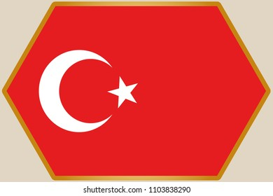 An elongated Hexagon with the Flag of Turkey