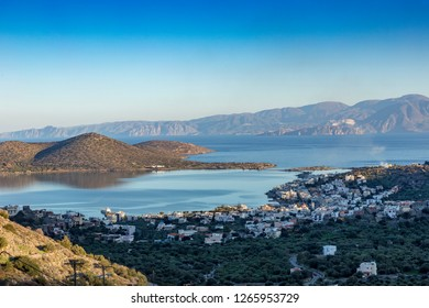 Elounda bay and mountain in Crete Greece.