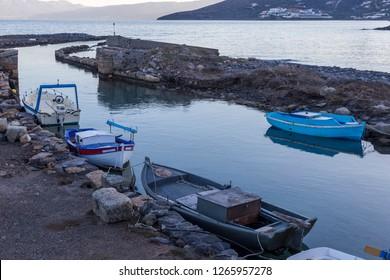 Elounda, Crete 12-08-2018. Fish boats in little harbor at  Elonda in Crete. Greece.