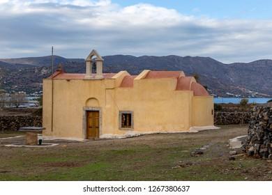 Elounda, Crete 12-08-2018. Little Byzantin church in Elounda Crete,  Greece
