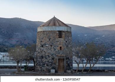 Elounda, Crete 12-08-2018.Old  wind mill at Elounda Crete,