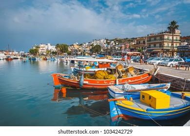 Elounda, Crete, June 07, 2017: Ships and fishing boats in the harbor of Elounda.
