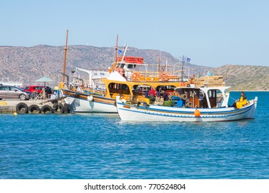 ELOUNDA, CRETE - OCTOBER 13: Boats in the harbor of Elounda on October 13th, 2017. Crete island, Greece.