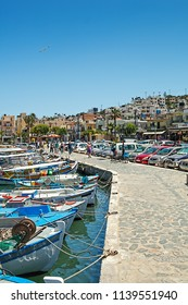 Elounda, Greece, Crete - 05/24/2015: Ships and fishing boats in the harbor of Elounda.