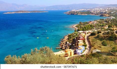 Elounda Sea View over Mirabello Bay, Crete Island, Greece. Free Space for Text.