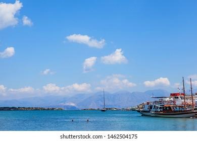 Elounda village, Crete/Greece. 28 June 2015. Small fishing village.