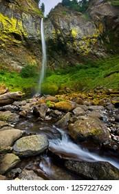 Elowah Falls, a beautiful tall waterfall in America's Pacific Northwest, Oregon