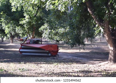 Eloy, AZ., U.S.A. Oct. 26, 2018. Daybreak Pecan Co. Floy F1 heave duty sweeper for pecan harvest.