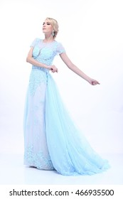 Elsa from Frozen, Beautiful and Nice Lady Blonde Hair in Snow Blue Evening Gown
