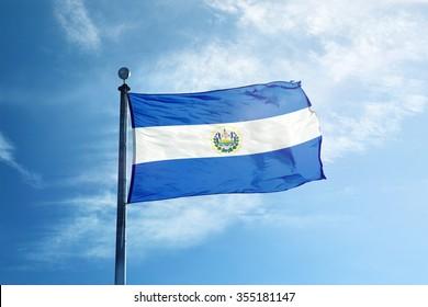 El-Salvador Flag on the mast