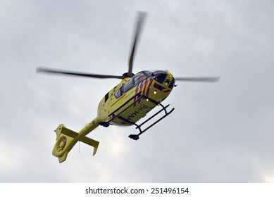 ELSPEET, THE NETHERLANDS, 10 February 2015 - Dutch ambulance helicopter in the sky