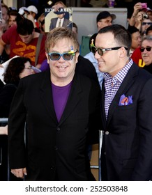 "Elton John and David Furnish at the Los Angeles Premiere of ""Gnomeo & Juliet"" held at the El Capitan Theater in Hollywood, California, United States on January 23, 2010."
