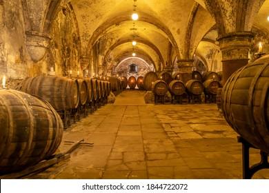 Eltville, Germany - August 30, 2020: Wine cellar in Kloster Eberbach in Eltville.