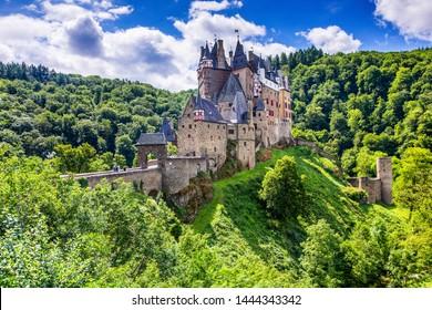 Eltz Castle or Burg Eltz. Medieval castle on the hills above the Moselle River. Rhineland-Palatinate Germany.