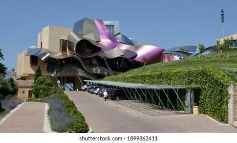 Eltziego, Spain - August 21 2010: The Marqués de Riscal wine hotel in El Ciego