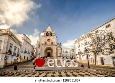 Elvas, Portugal / December 22 2018 : Front view of Our Lady of the Assumption Cathedral, Elvas