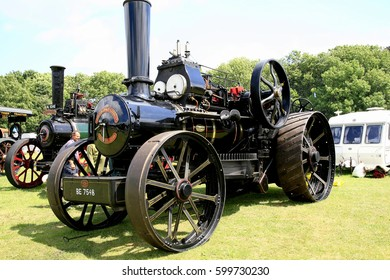 Elvaston, Derbyshire, UK. July 04, 2015.   Vintage 1917 Fowler BB ploughing engine named Gordon on display at the Elvaston country steam rally in Derbyshire.