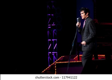 Elvis Presley impersonater performing in Branson, Missouri, U.S.A.