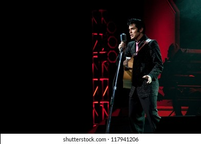 Elvis Presley impersonator performing in Branson, Missouri, U.S.A.