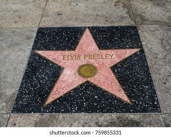 Elvis Presley's Star, Hollywood Walk of Fame - August 11th, 2017 - Hollywood Boulevard, Los Angeles, California, CA, USA