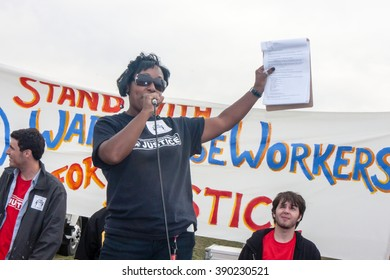 ELWOOD, ILLINOIS - OCTOBER 1, 2012: Striking workers and supporters from the Walmart distribution center rally for better wages and working conditions.