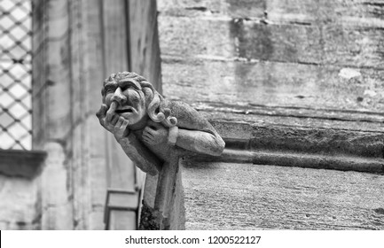 Ely, Cambridgeshire, England - September 4 1918: A gargoyle on the southern side of the ancient cathedral.