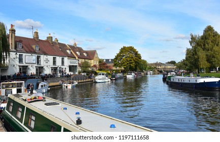 Ely, Cambridgeshire October 7 2018 - People enjoying the riverside at Ely on a Sunny Sunday afternoon as autumn approaches