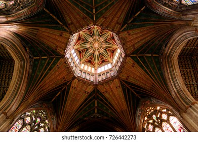 ELY, CAMBRIDGESHIRE, UK  - AUGUST 18, 2017: Interior of Ely Cathedral Church of the Holy and Undivided Trinity. Octagon ceiling detail.