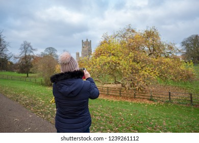 Ely, Cambridgeshire, UK - Circa November 2018: Woman seen dressed in winter weather clothing aiming her mobile phone with the aim to taking a picture of a large tree in front of Ely cathedral.
