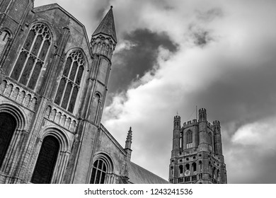 Ely, Cambridgeshire, UK - Circa November 2018: Abstract, angled monochrome image of a famous English building showing its fine gothic structure. A tall tower is seen in the background.