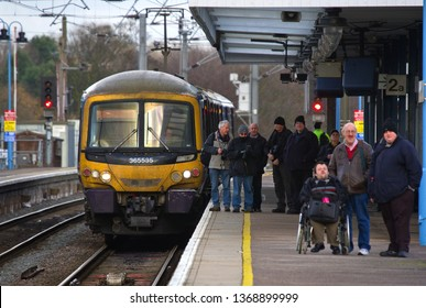 ELY, CAMBRIDGESHIRE, UK - JANUARY 11, 2014: First Capital Connects Class 365 No. 365535 stands at Ely station waiting to work the 1T35 1325 Ely to London Kings Cross service.
