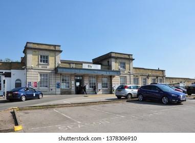 ELY, CAMBRIDGESHIRE/UK - April 20, 2019. Approach to the railway station, Ely, Cambridgeshire, England