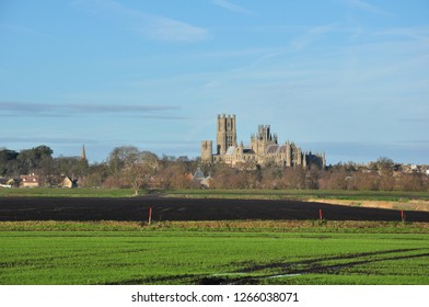 ELY CAMBRIDGESHIRE/UK - December 22, 2018. Ely Cathedral (with Maltings in front and spire of St Mary's Church to the left), Ely, Cambridgeshire, England