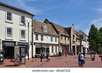 ELY, CAMBRIDGESHIRE/UK - July 17, 2017. Shops, Market Place, Ely, Cambridgeshire, England