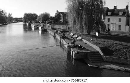 ELY, CAMBRIDGESHIRE/UK - November 26, 2017. Fishing on the River Great Ouse, Waterside, Ely, Cambridgeshire, England