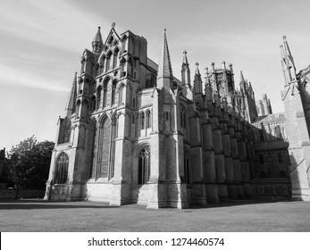 Ely Cathedral (formerly church of St Etheldreda and St Peter and Church of the Holy and Undivided Trinity) in Ely, UK in black and white