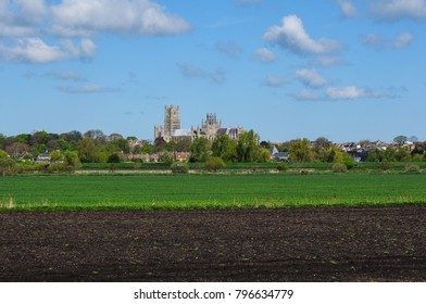 Ely Cathedral viewed across the fen from Quanea Drove between Ely and Stuntney, Cambridgeshire, England, UK