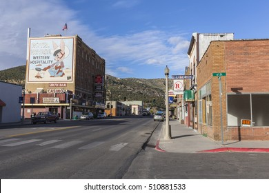 Ely, Nevada, USA - October 16, 2016:  Historic downtown buildings in rural Ely Nevada.