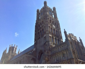 Ely / UK - August 1 2016: Low angle view of Ely Cathedral on a sunny day