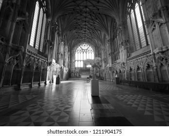 ELY, UK - CIRCA OCTOBER 2018: Lady Chapel at Ely Cathedral in black and white